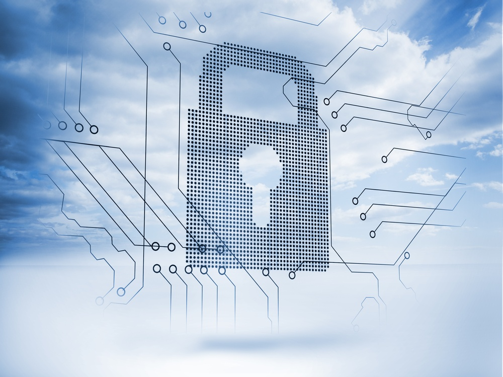 Giant padlock next to a circuit board with blue sky on the background