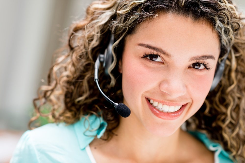 Woman with headset working at a call center